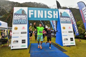 Mission accomplished . . .Joris Gall crosses the finish line during the Aoraki Mount Cook Marathon 10km event on Saturday. PHOTO: DOM CHANNON