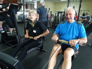 Pulling power... Active For Life members Pauline Mack and Jack Marett work out.